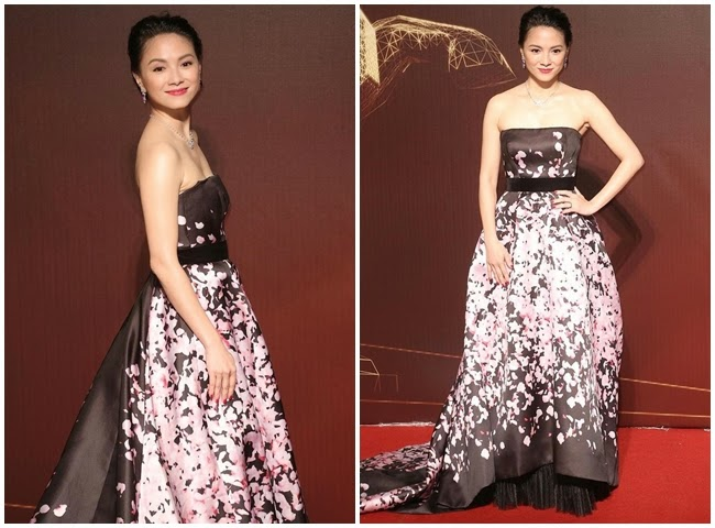 2014 Golden Horse Awards:Sinje Lee wore the same Monique Lhuillier gown with Christine Teigen
