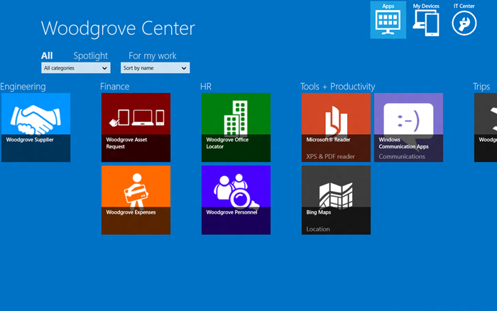 Application portal or ssp for the microsoft example site woodgrove