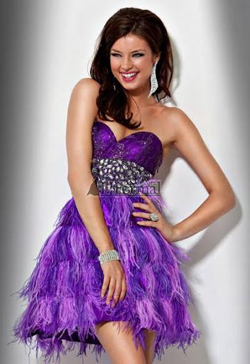 бална рокля с пера