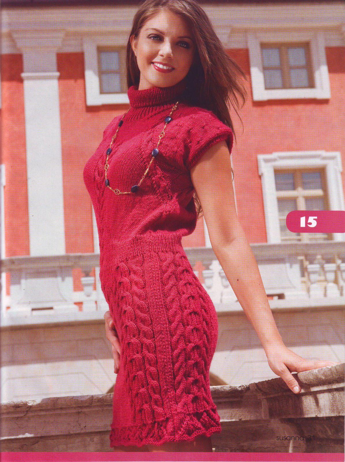 Вязание спицами. . Галерея женских вязаных моделей со схемами и описанием. . Платья, туники и. В этом разделе