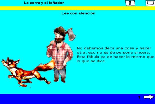 Imagen de una de las actividades (La zorra y el leñador)