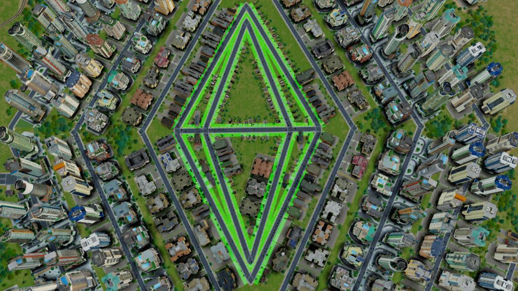 Можно создать и вот такой символ в городе - из игры The Sims 3