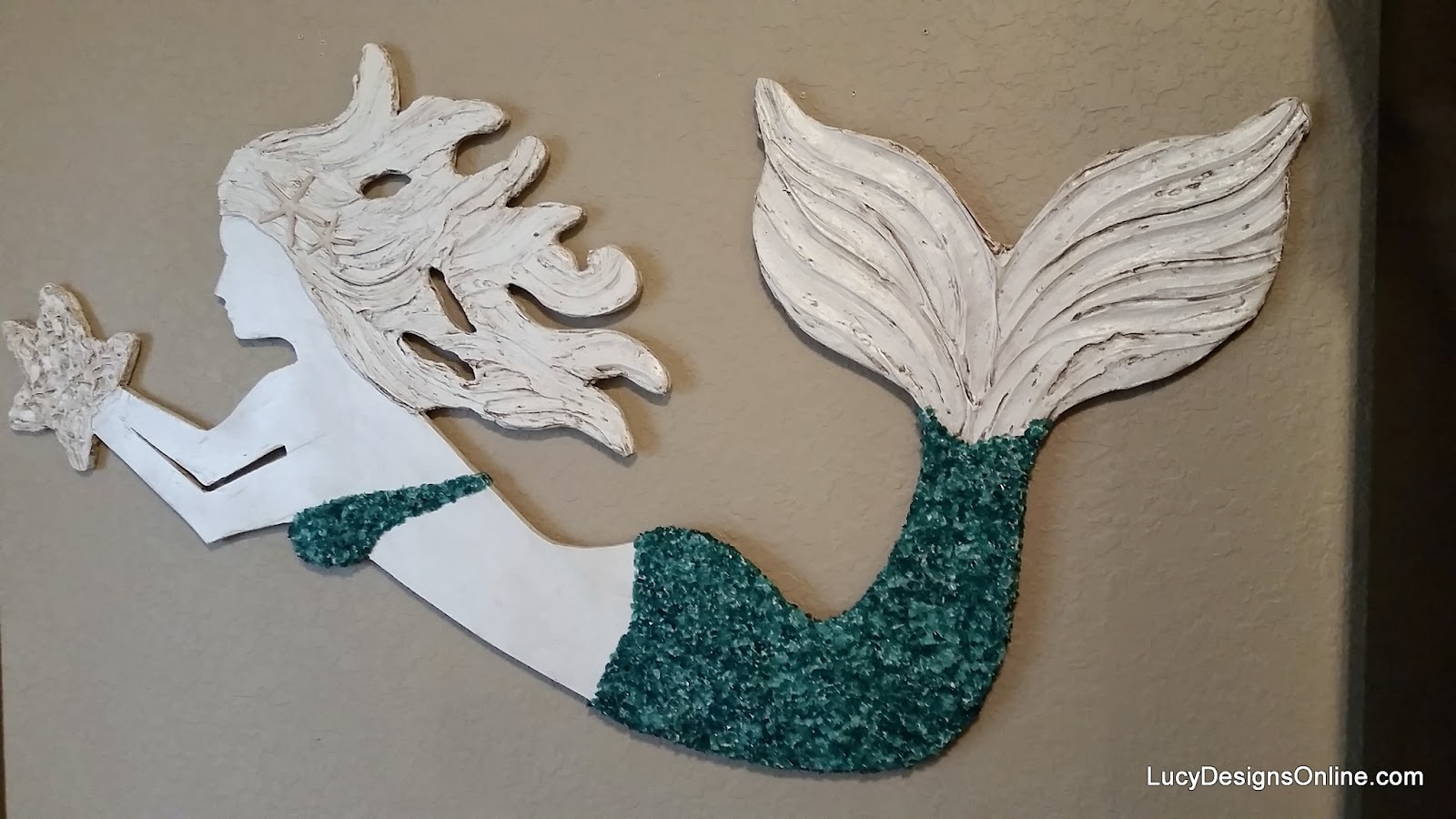 4ft mermaid art with crushed glass