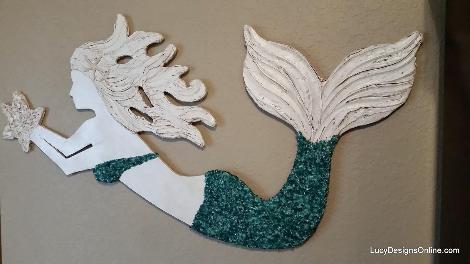 Diy Mermaid Wall Decor : Large wooden mermaid wall art coast beach