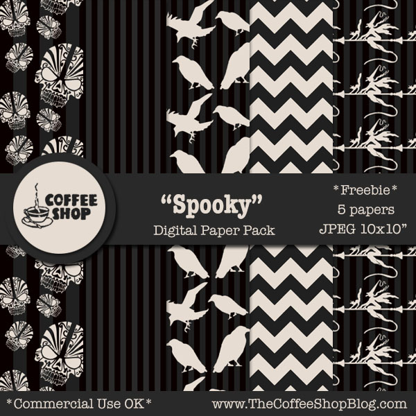 The Coffeeshop Blog Coffeeshop Spooky Digital Paper Pack