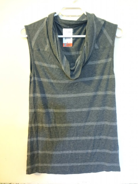 grey on grey striped sleeveless shirt