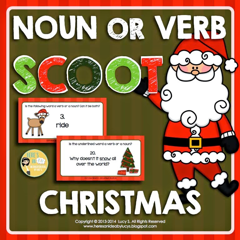 Christmas SCOOT - Noun or Verb - 70 Task Cards