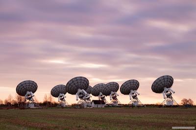 Mullard radio telescopes sunrise