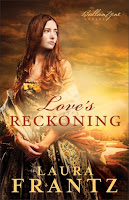cover of Love's Reckoning by Laura Frantz shows a woman in a green dress with the sunrise behind her