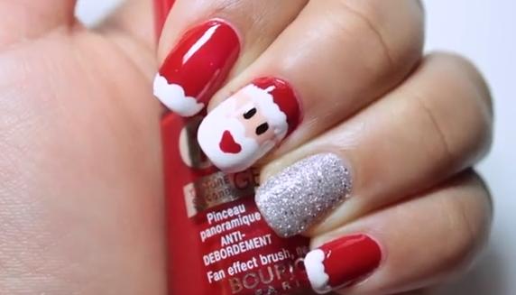 Nail Art estilo Santa Claus para Navidad. Es momento de decorar nuestras uñas
