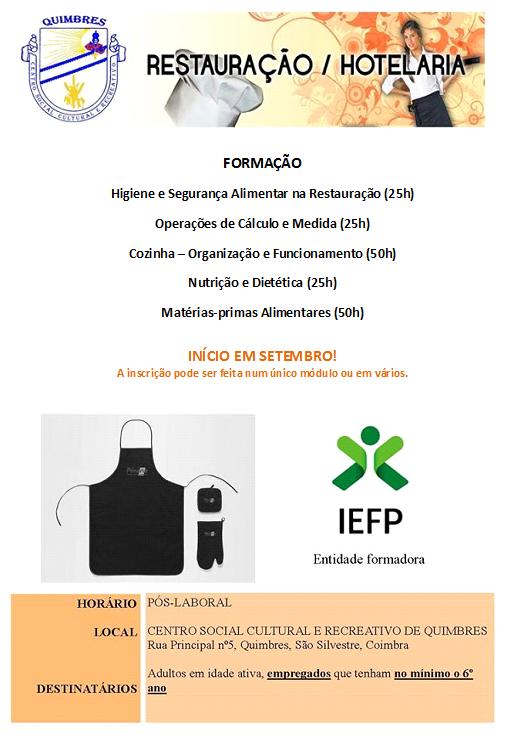 Formação financiada na área de cozinha e restauração – Quimbres (Coimbra)