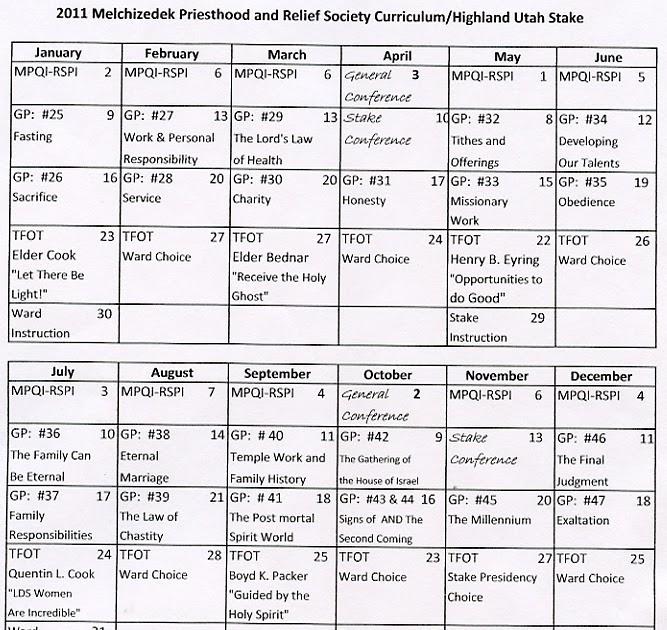 Yw Teaching Schedule Lds | just b.CAUSE