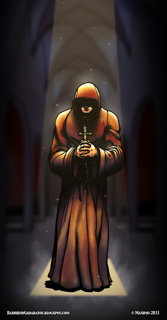 The Monk, el monje, ilustración arte final color digital ©maximo 2012. Luz, sombra, iglesia, catedral, Sol.