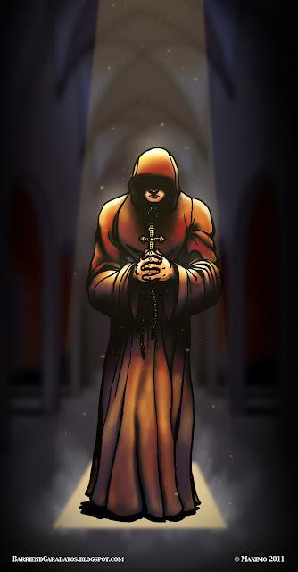 The Monk, el monje, ilustración arte final color digital ©maximo 2012. Luz, sombra, iglesia, catedral, Sol.