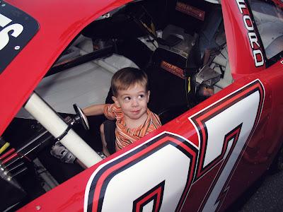 Ethan in a race car
