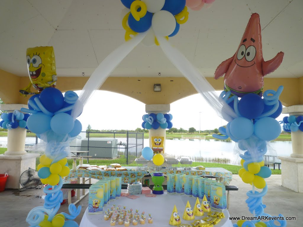 Dreamark events blog spongebob theme birthday decor for Balloon decoration ideas for birthday party