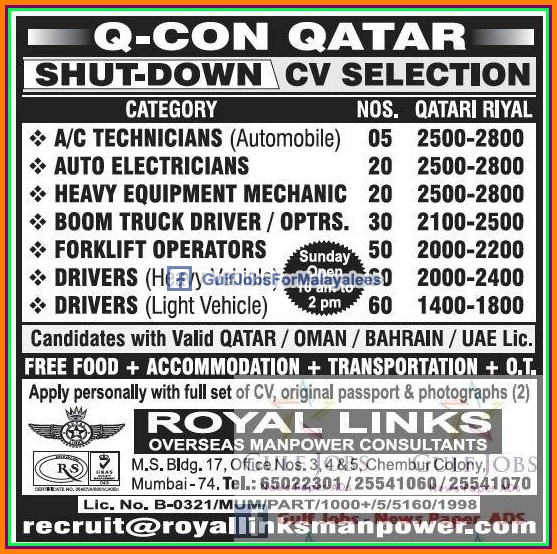 QCON Qatar Shut Down Job Vacancies
