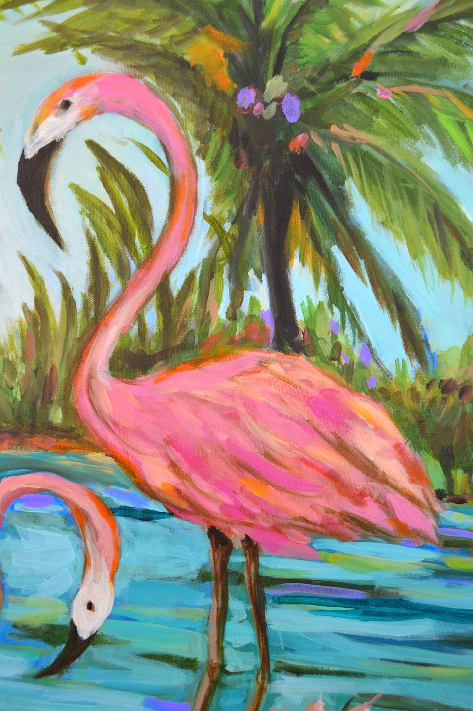 Pink Flamingo Painting By Karen Fields 30 X 30