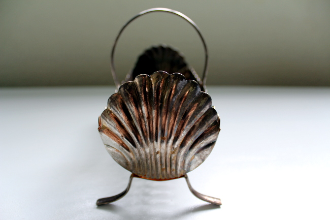 antique silver dish shell ends