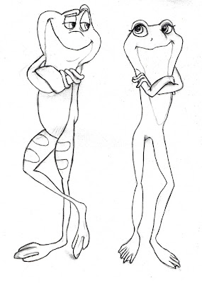 Prince Naveen and Tiana as Frog Coloring Pages free download