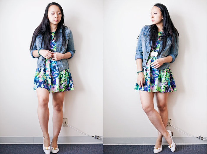 lulu's denim jean jacket, zara floral dress, vintage bally's leather bow pumps, thrifted vintage leather belt