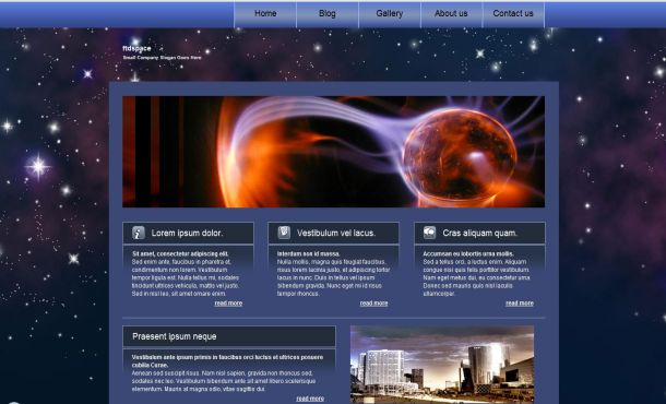 Free Black Blue Space CSS Website Template