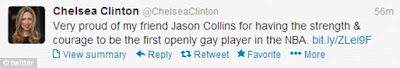 Chelsea Clinton shows support to Jason Collins on Twitter