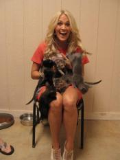 Carrie Underwood with a lap full of kitties, Sandy Weaver Carman