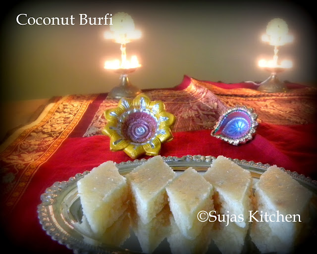 Coconut Burfi / Candied Coconut bars - A delicacy during festive seaso