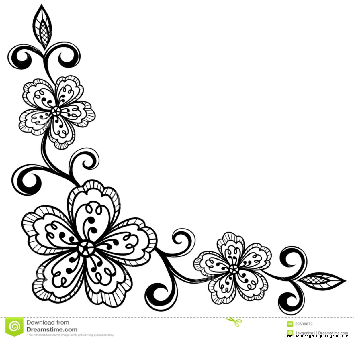 Corner Ornamental Lace Flowers Black And White Royalty Free
