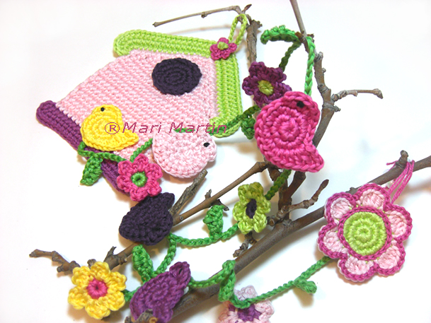 Crochet Birdhouse Garland