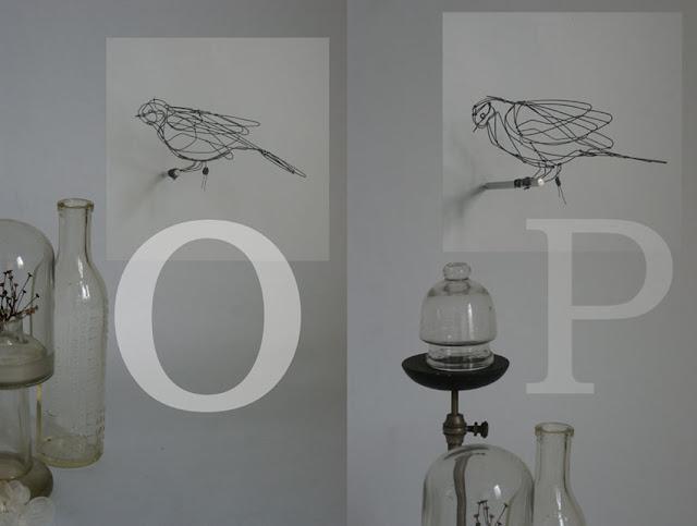Bird O: 21,5 x 9 x10 cm, Bird P: 20 x  6 x 9 cm