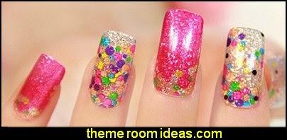 nail art - nail stickers -  nail polish sticker,women glitter false nail nail sticker