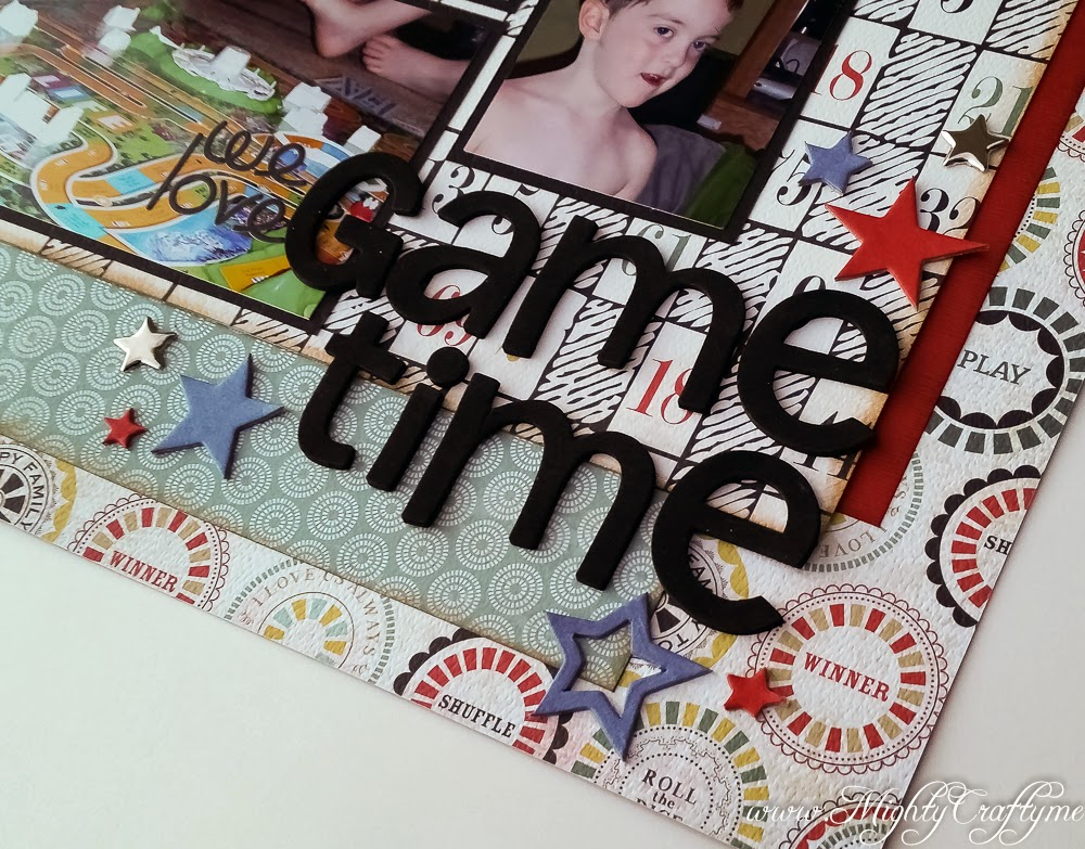 We Love Game Time layout for Sketch N Scrap Challenge #68 -- www.MightyCrafty.me