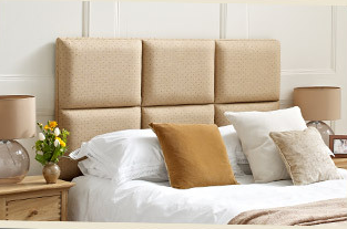 The Fontain style of bedhead with six upholstered and padded squares.