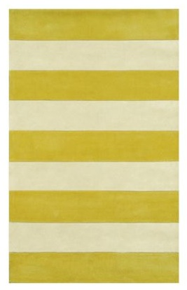 Tropical Vertical Stripe Bright Yellow Braided Polypropylene Rug