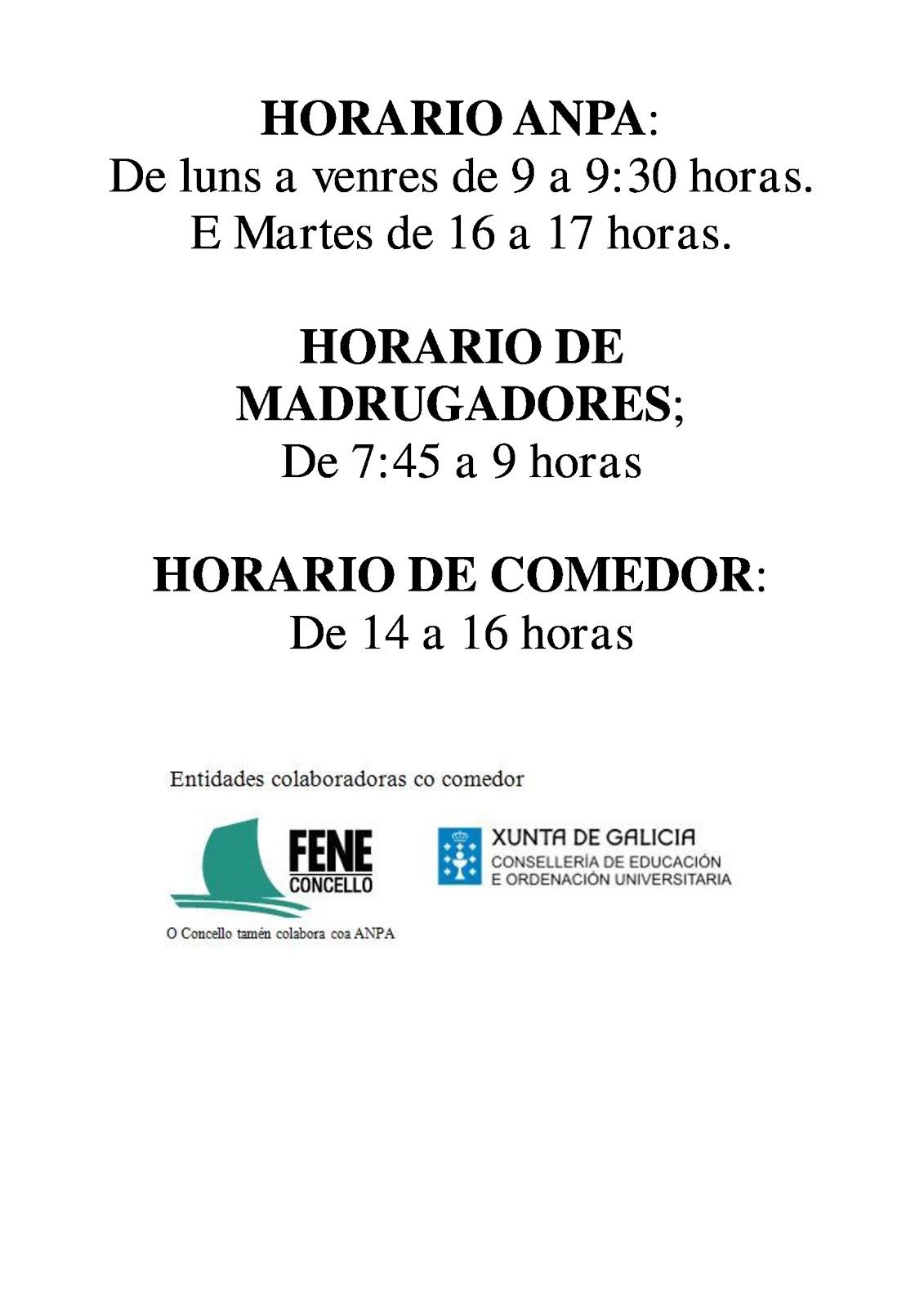 HORARIOS DE INTERESE