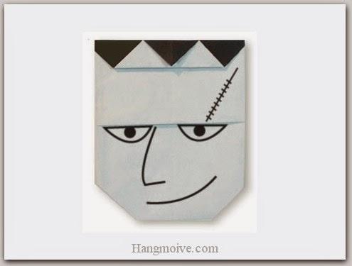 Cách gấp, xếp Frankenstein bằng giấy origami - Video hướng dẫn xếp hình Halloween - How to fold a Frankenstein