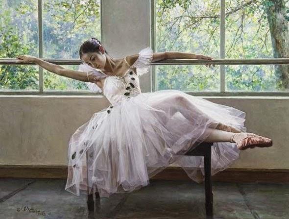 Guan Zeju pinturas foto-realistas mulheres bailarinas sensuais chinesas asiáticas