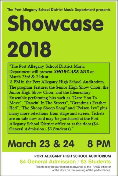 3-23/24 Showcase 2018, Port Allegany