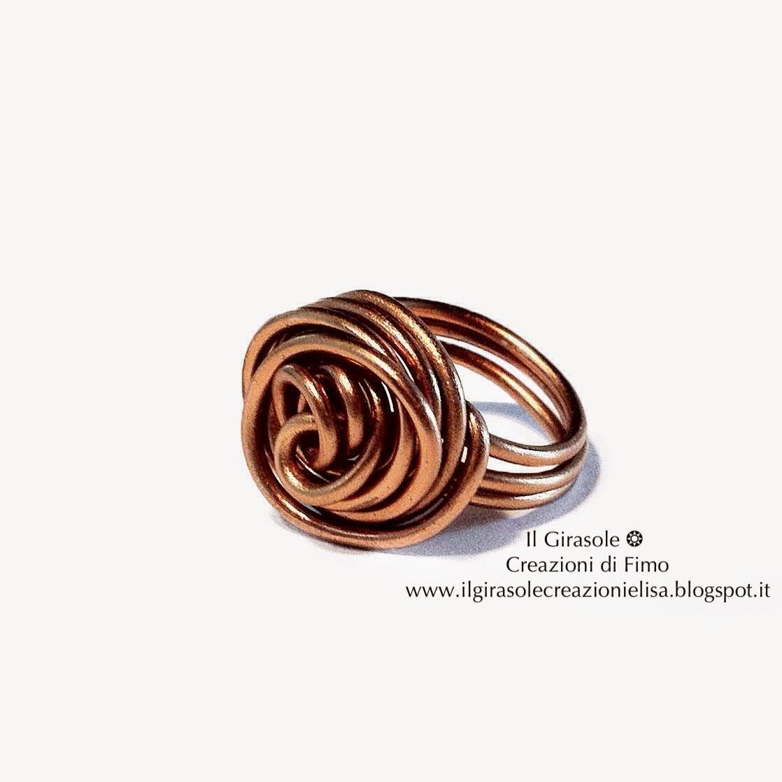 Amato Anello in Wire con Rosa a Spirale - Il GiraSole ❂ IK98