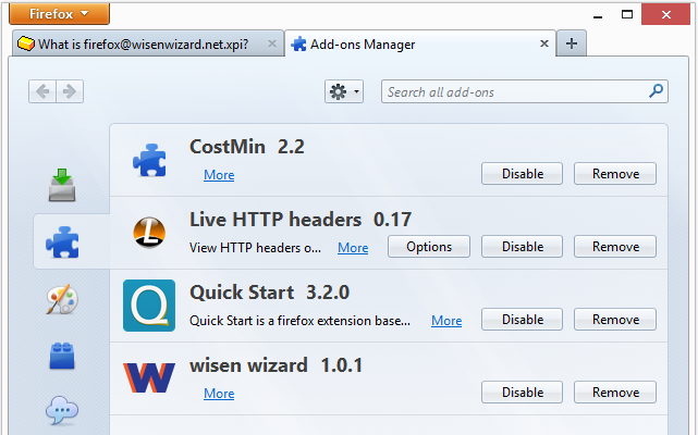 Wisen Wizard 1.0.1 in Firefox' Add-ons list