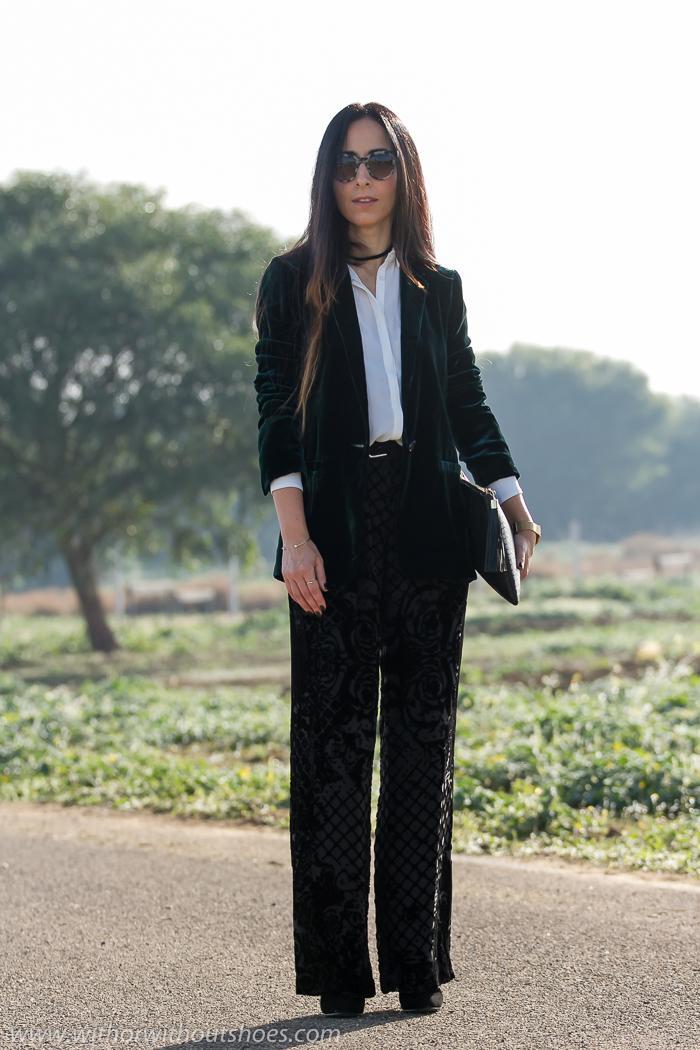 Look de fiesta con blazer de terciopelo de Zara y pantalones palazzo de Balmain