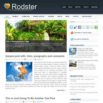 RodSter blog template. magazine blogger template style. magazine style template blogspot