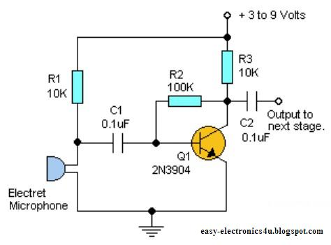 Simple one transistor microphone preamplifier easy electronics easy electronics ccuart Choice Image