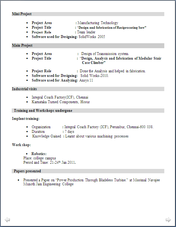 Fresher Resume For Mechanical Engineer
