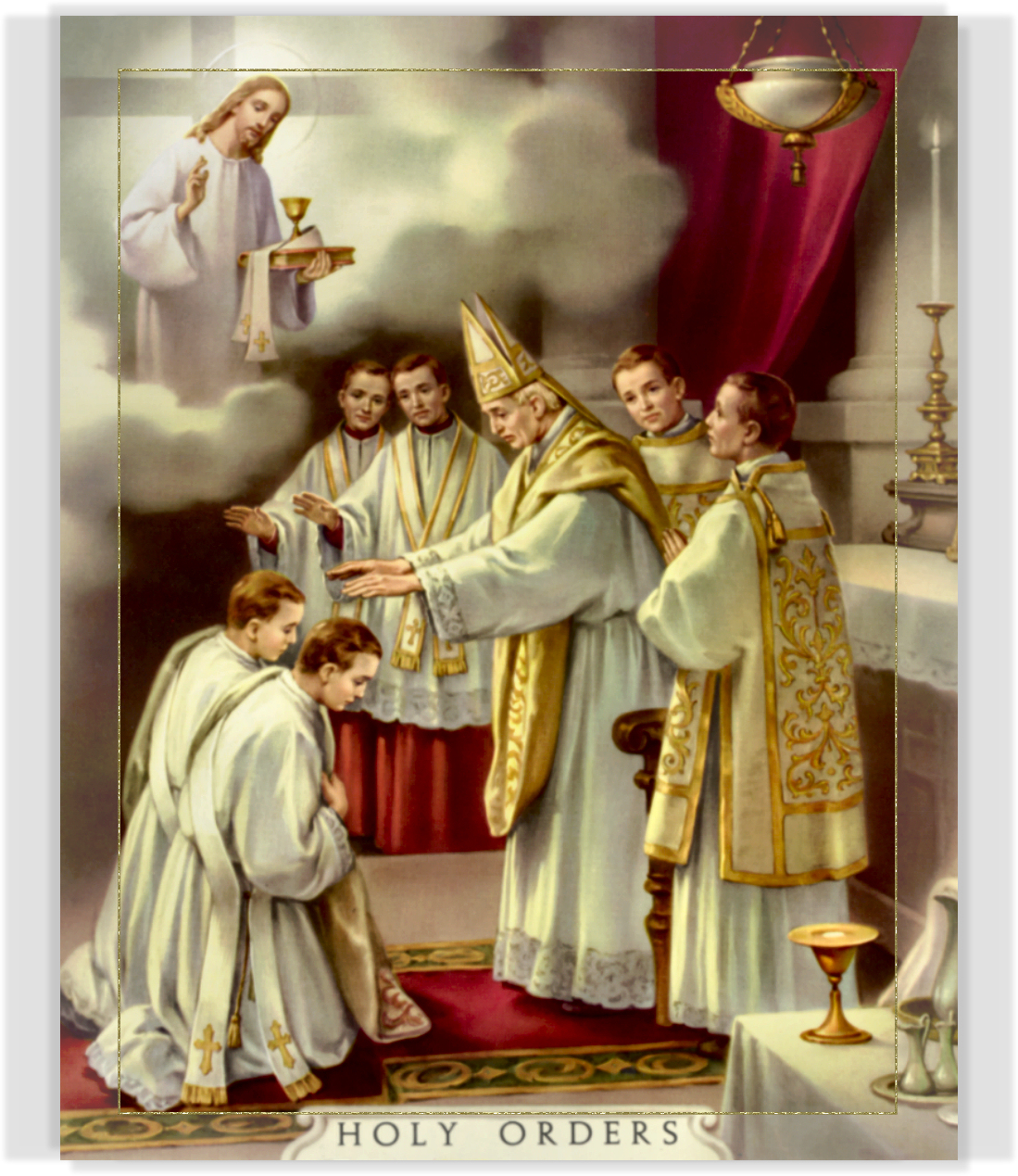 """sacrament of holy orders essay These sacraments are comprised of baptism, confirmation, confession, marriage, the appointment of priests or holy orders, and the anointing of the sick each of the above mentioned sacraments serve as a visible or outward sign of our """"inward grace""""."""