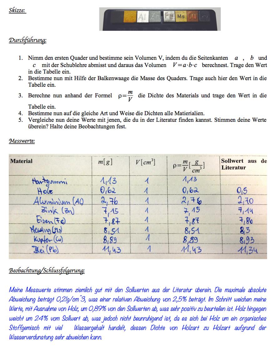 Schülerversuch: Die Dichte | Physik ganz einfach