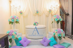 Pelamin Nikah/Tunang  Warna Pastel Tiffany Green+Purple/Mini Pelamin Tirai+Bangku Bulat Eksklusif