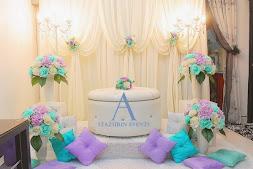 Pelamin Nikah/Tunang  Warna Pastel Tiffany Green+Purple/Mini Pelamin Tirai+Bangku Bulat Eksklusif